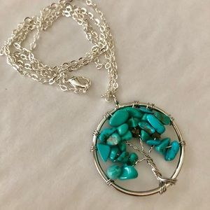 Tree of Life Jewelry - Turquoise Necklace Tree Of Life Pendant/Chain